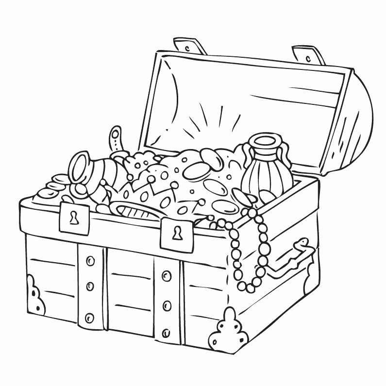 32 Treasure Chest Coloring Page in 2020 (With images