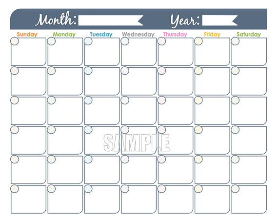 Monthly Calendar Printable  Undated Editable Family Calendar