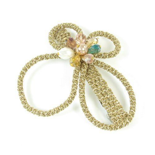 FOREVER YUNG Women Khaki Gold Tone Faux Crystal Bowknot Detail Hair Clip Barrette Hairclip -- Details can be found by clicking on the image.
