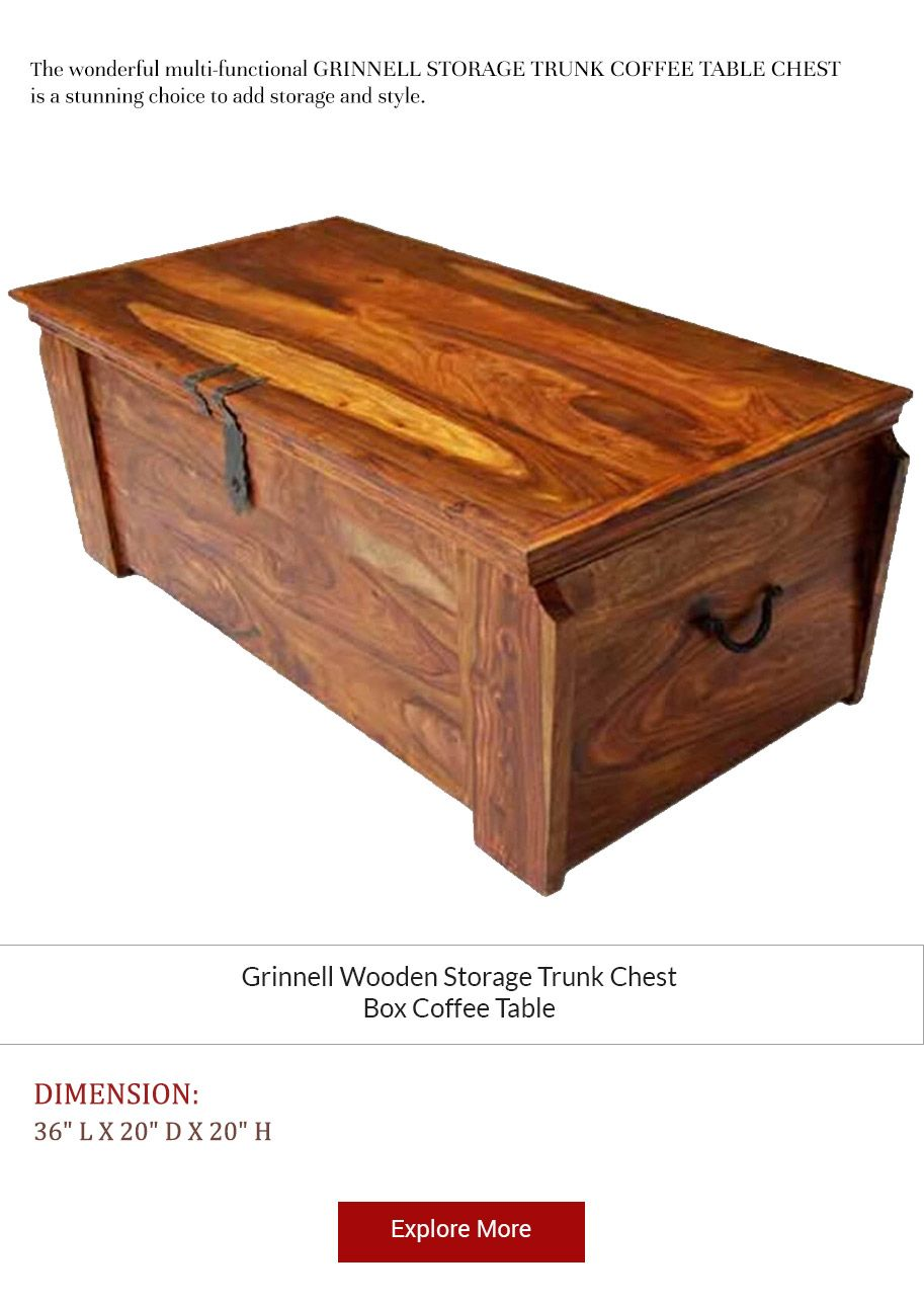 Grinnell Wooden Storage Trunk Chest Box Coffee Table Wooden Storage Blanket Box Coffee Table Storage Trunk [ 1288 x 913 Pixel ]