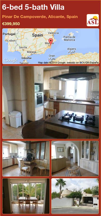 6-bed 5-bath Villa in Pinar De Campoverde, Alicante, Spain ►€399,950 #PropertyForSaleInSpain