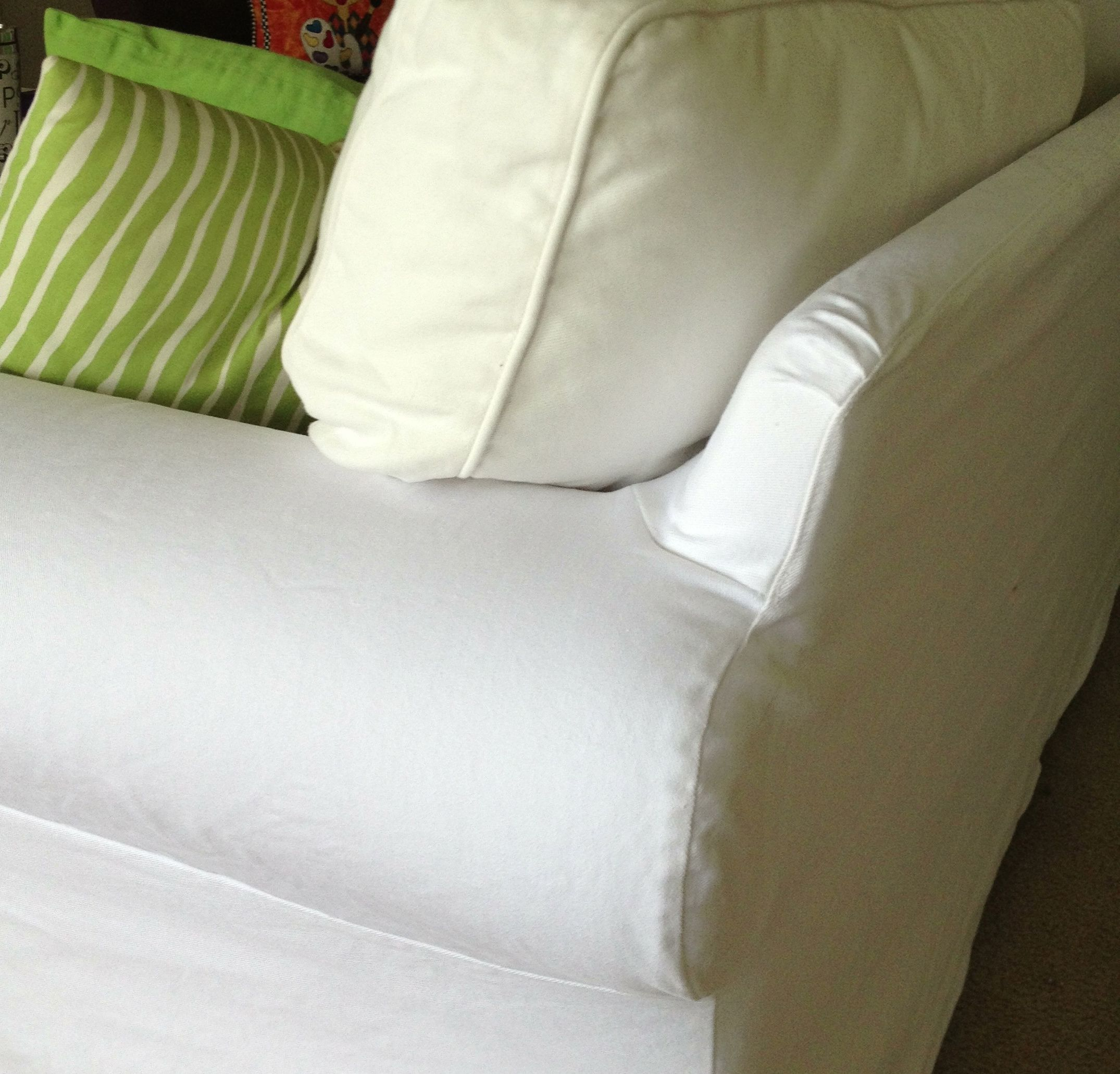 How to clean Ikea Ektorp slipcovers. The label says you cannot use bleach so this is the way I get mine bright white again. Cushion is before and slipcover ... & How to clean Ikea Ektorp slipcovers. The label says you cannot use ... pillowsntoast.com
