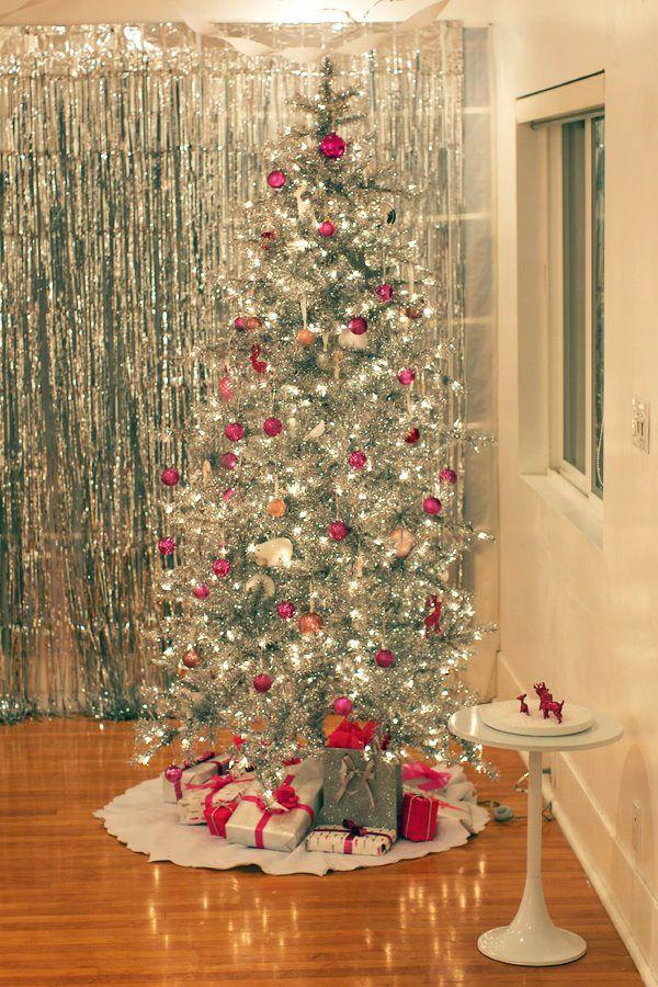 Pink Silver Tinsel Tree Vintage Christmas Tree Tinsel Tree Holiday Tree
