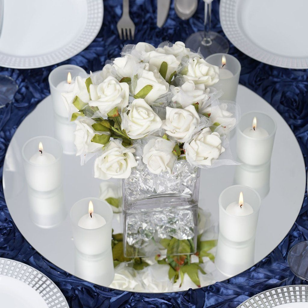 4 Pack 16 Round Glass Mirror Wedding Party Table Decorations Table Centerpiece Decorations Mirror Centerpiece