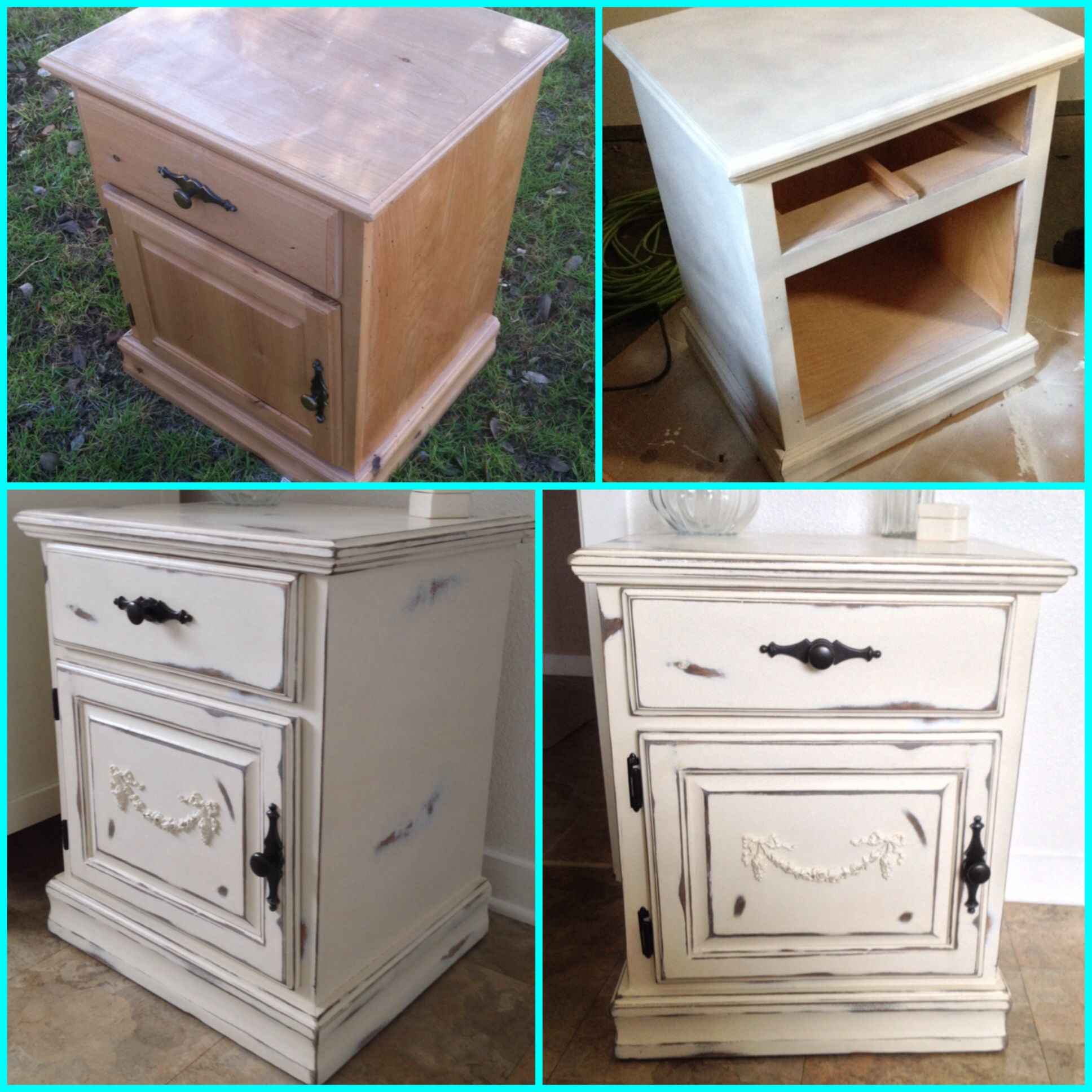 My DIY shabby chic nightstand. Furniture makeover, painted wood furniture,  distressed paint!
