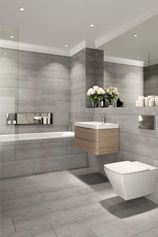 Madeira Grafite Antislip Natural Wood Effect Floor Tile Roomset Bathroomtile Wood Effect Floor Tiles Bathroom Interior Design Grey Bathroom Tiles