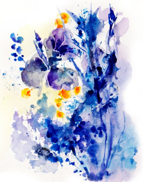 Blue Abstract Flowers Watercolor Painting Art Print Abstract