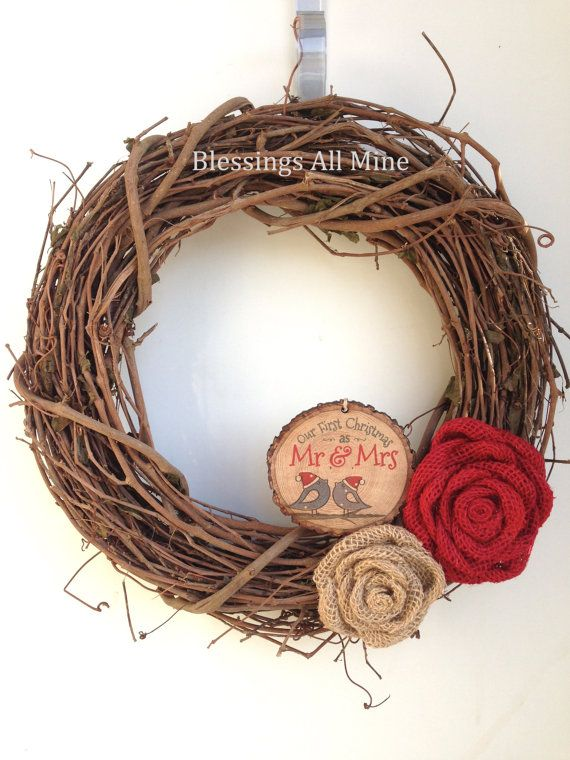 14 Inch Grapevine Wreath First Christmas As Mr Mrs Ornament Red And Neutral Burlap Flowers Newlyweds