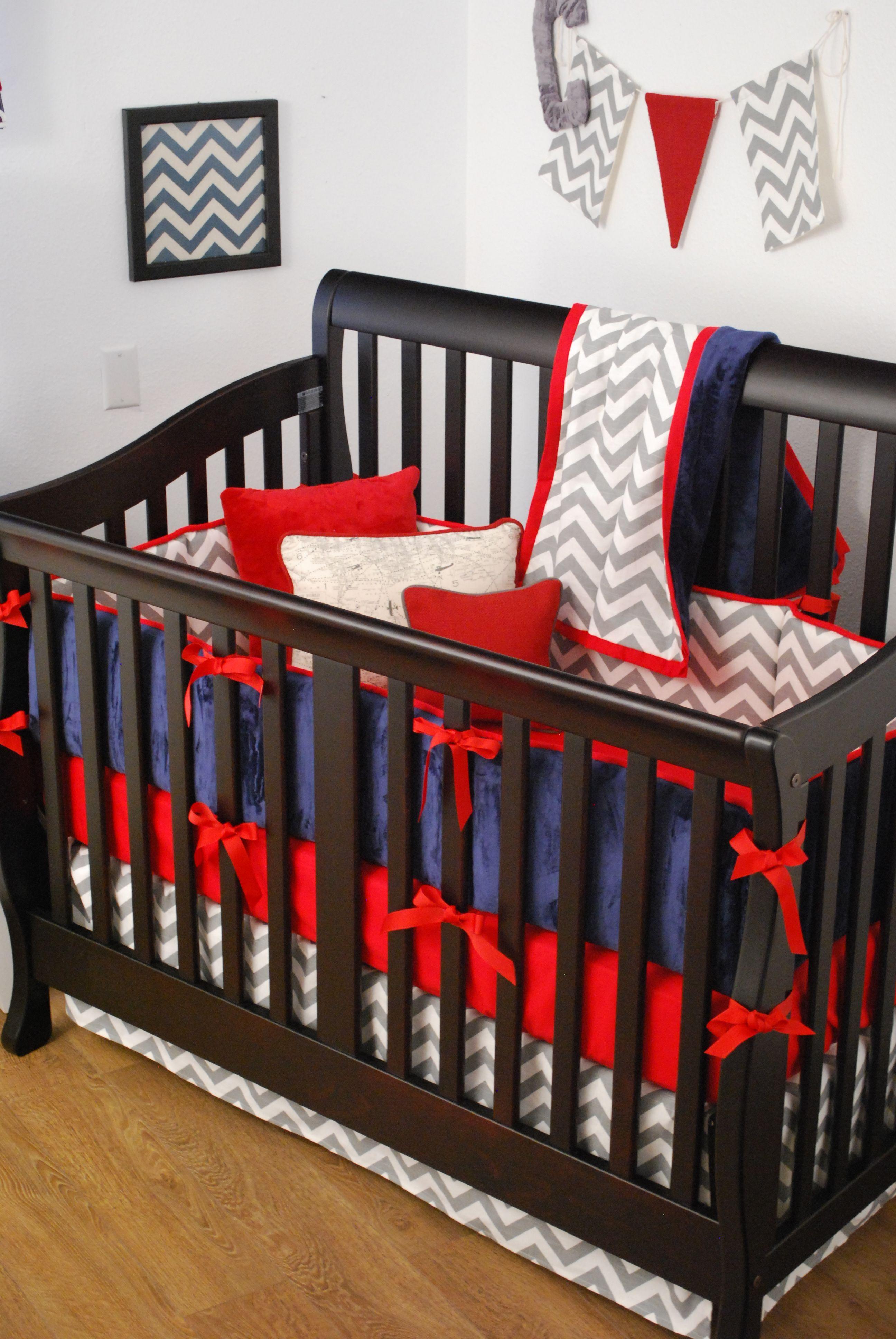 Red Navy and Grey Chevron crib bedding
