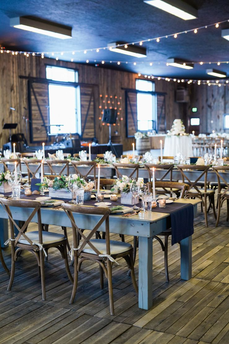 Blue and gold rustic wedding reception decorations | fabmood.com