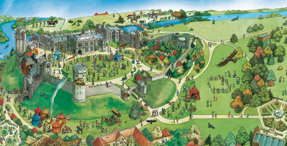 Warwick Castle Map Warwick Castle Map  amusement park Merlin Amusements UK