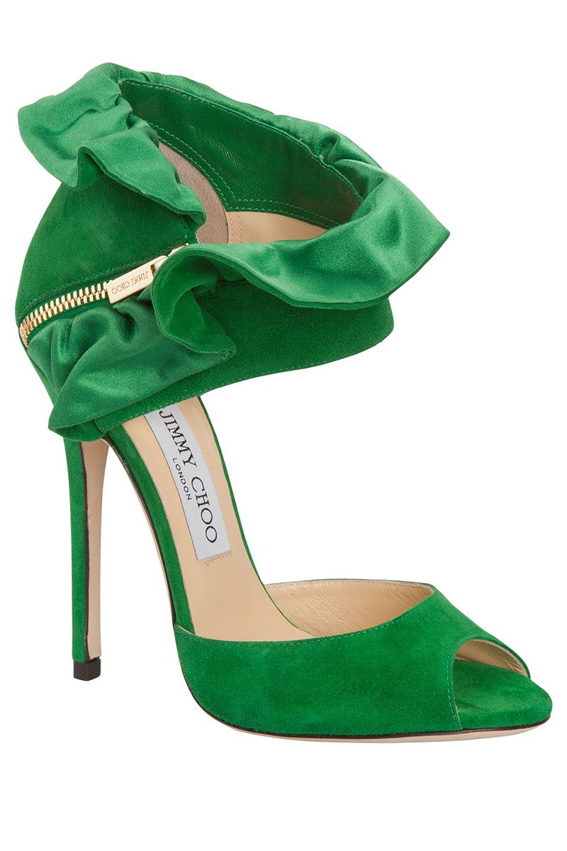 253e8d69a8 Holiday Shoe Report: Opulence Is In. Green Jimmy Choo | green shoes |  amazing heels | holiday trend | style | fashion