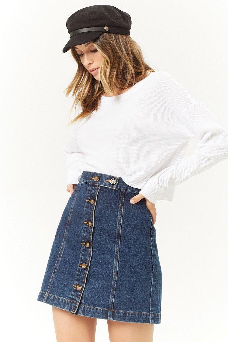 ed68f790a Minifalda De Mezclilla Abotonada - Mujer - Pantalones + Faldas ...