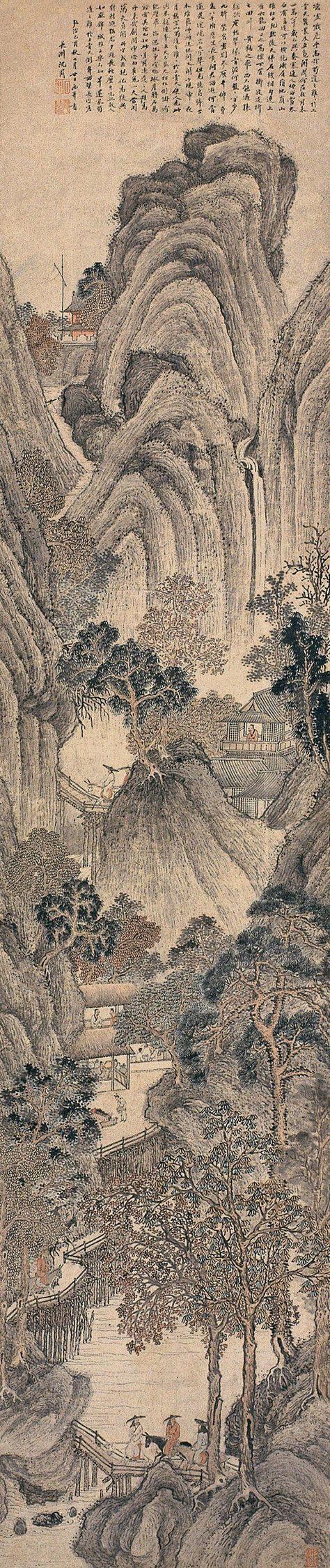 Shen Zhou(沈周) , lived 1427-1509, Ming Dynasty. 蜀道难 立轴