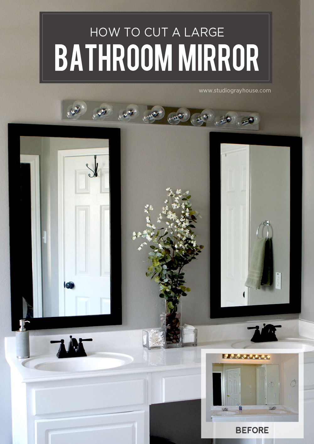 Diy Bathroom Project How To Cut A Large Mirror More