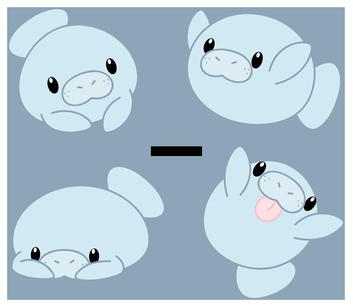 Chibi Manatee Cute Art Cute Animal Drawings Cartoon Animals