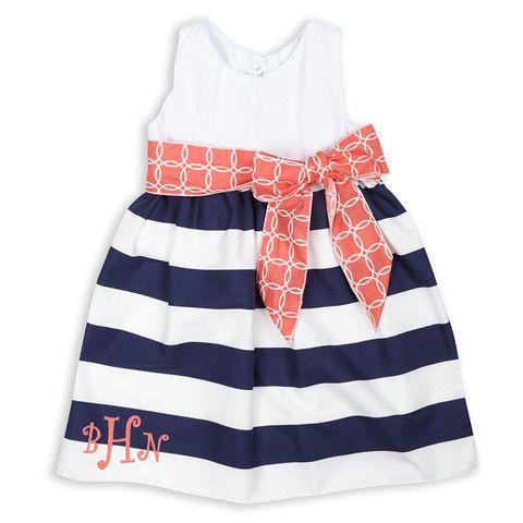 Girls White Seersucker Navy Stripe Coral Sash Dress – Lolly Wolly Doodle