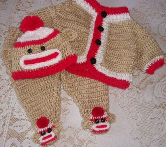 Crochet Sock Monkey Sweater Set and Leggings Layette Perfect For ...