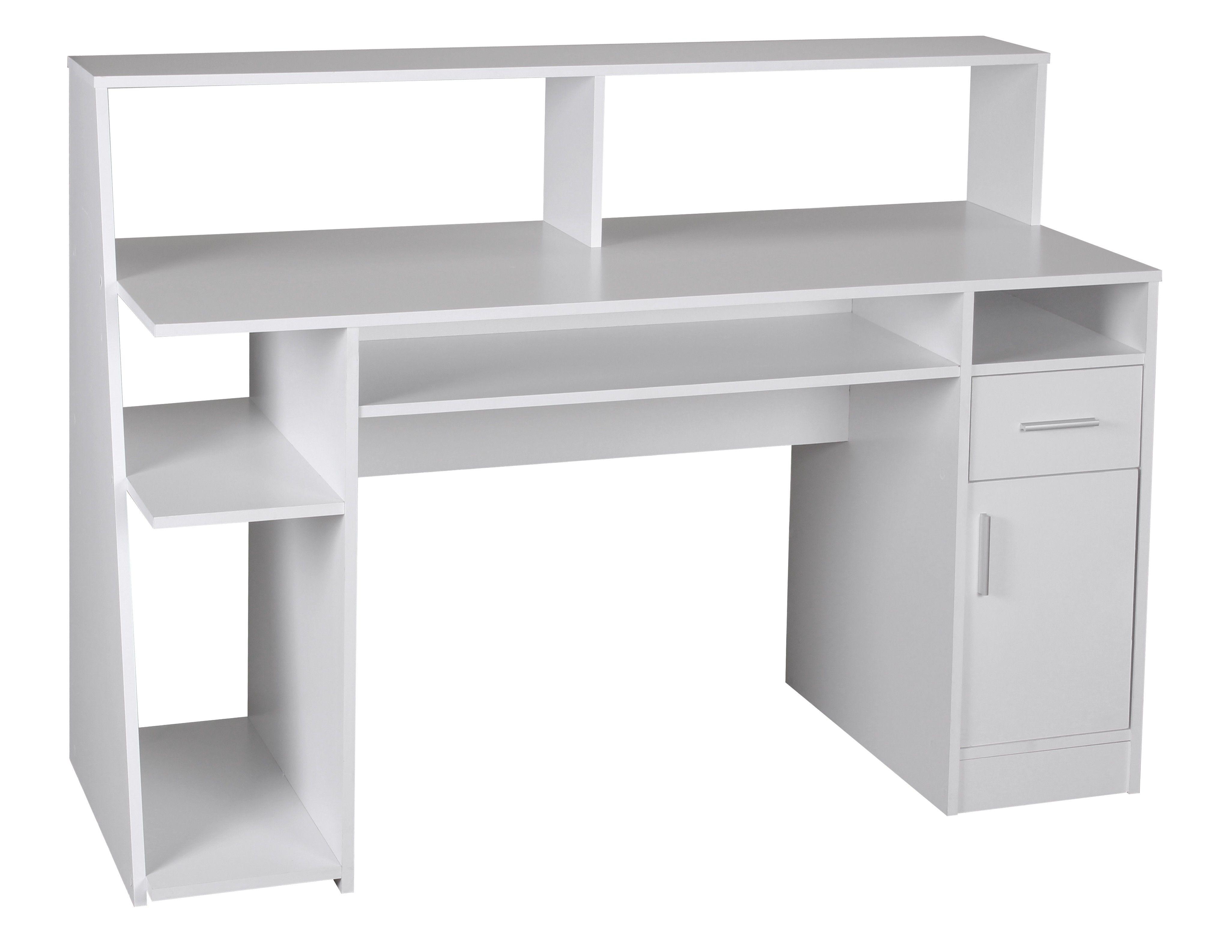 Multifunktion Schreibtisch Computertisch Weiss 135 X 60 X 100 Cm