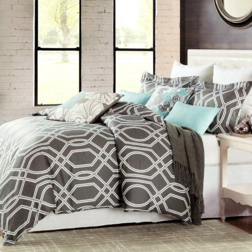 Max Studio Modern Geometric Quatrefoil Trellis Pattern King Size Duvet Cover Set Graphite Gray Home