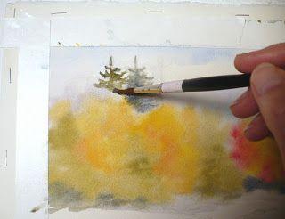 Autumn Glory Original Watercolor Landscape Painting Watercolor