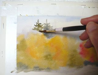 Autumn Glory Original Watercolor Landscape Painting Watercolor