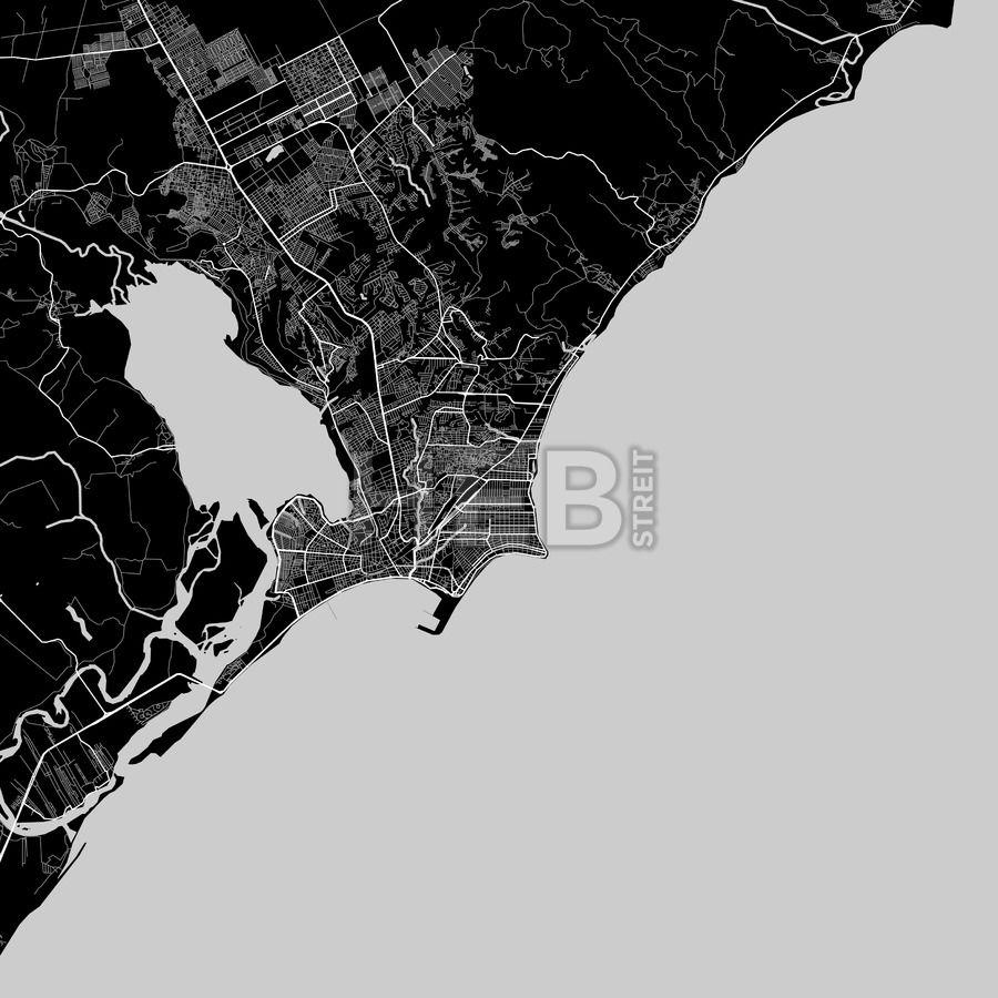 Area map of Macei Brazil Dark background
