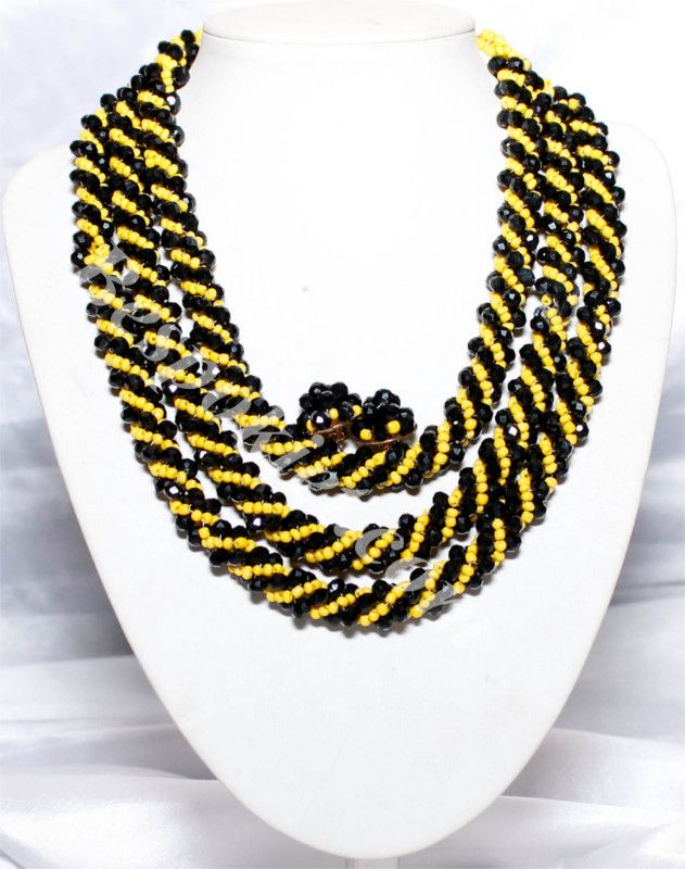 Spiral Yellow Bead Necklace Set - Bespokiet.com | Nigerian Wedding ...