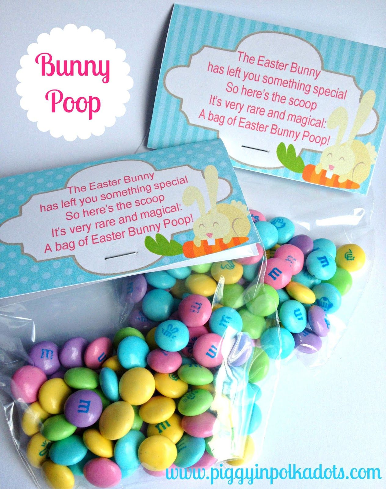 Piggy In Polka Dots Whip It Up Wednesday Bunny Poop Basket Stuffer Amp Printable Tags