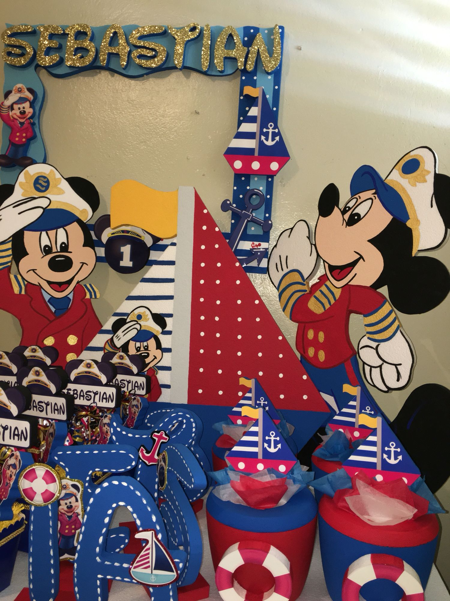Mickey Mouse sailor captain nautical Birthday decorations ice cooler ...