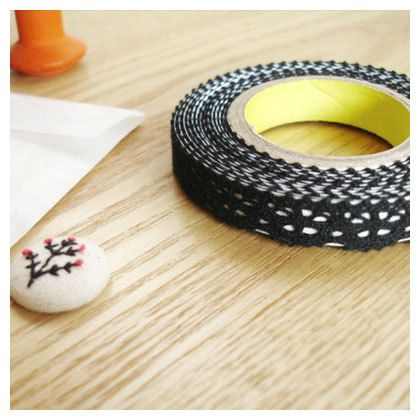 Deco fabric lace fabric tape rolltape - black (Fallindesign) #fabrictape