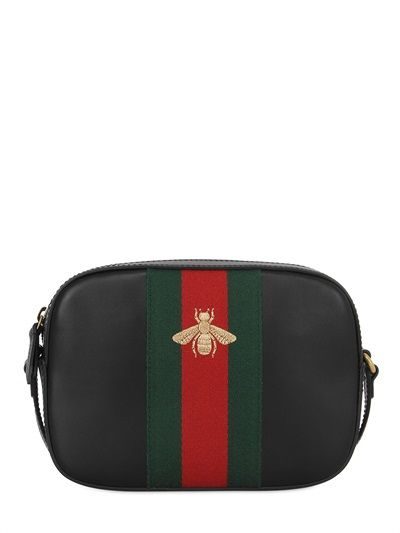 d12582d49 GUCCI Bee Embroidered Leather Shoulder Bag, Black. #gucci #bags #shoulder  bags #leather #lining