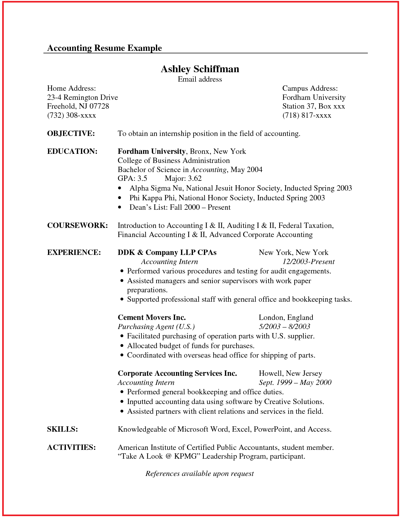 sample of cv canada