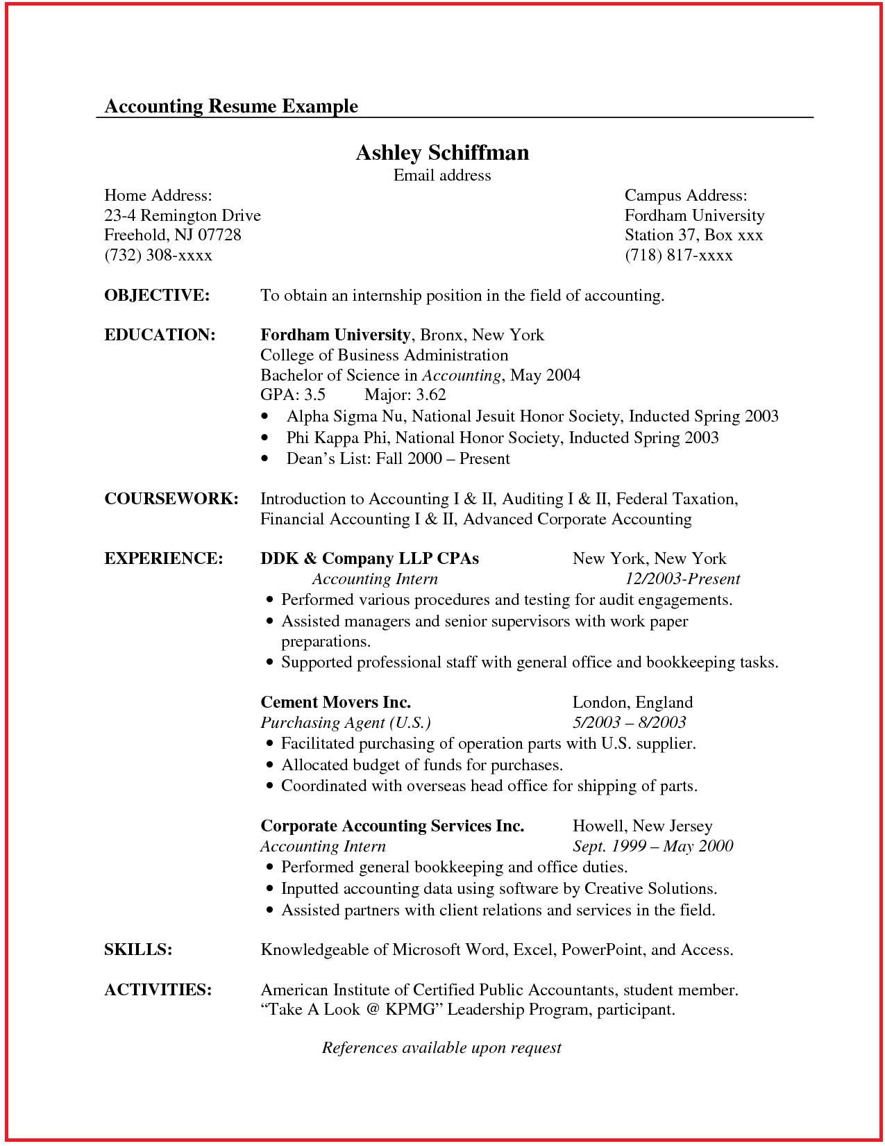 Accountant Resume Sample Canada Internship Resume Accountant Resume Resume Examples