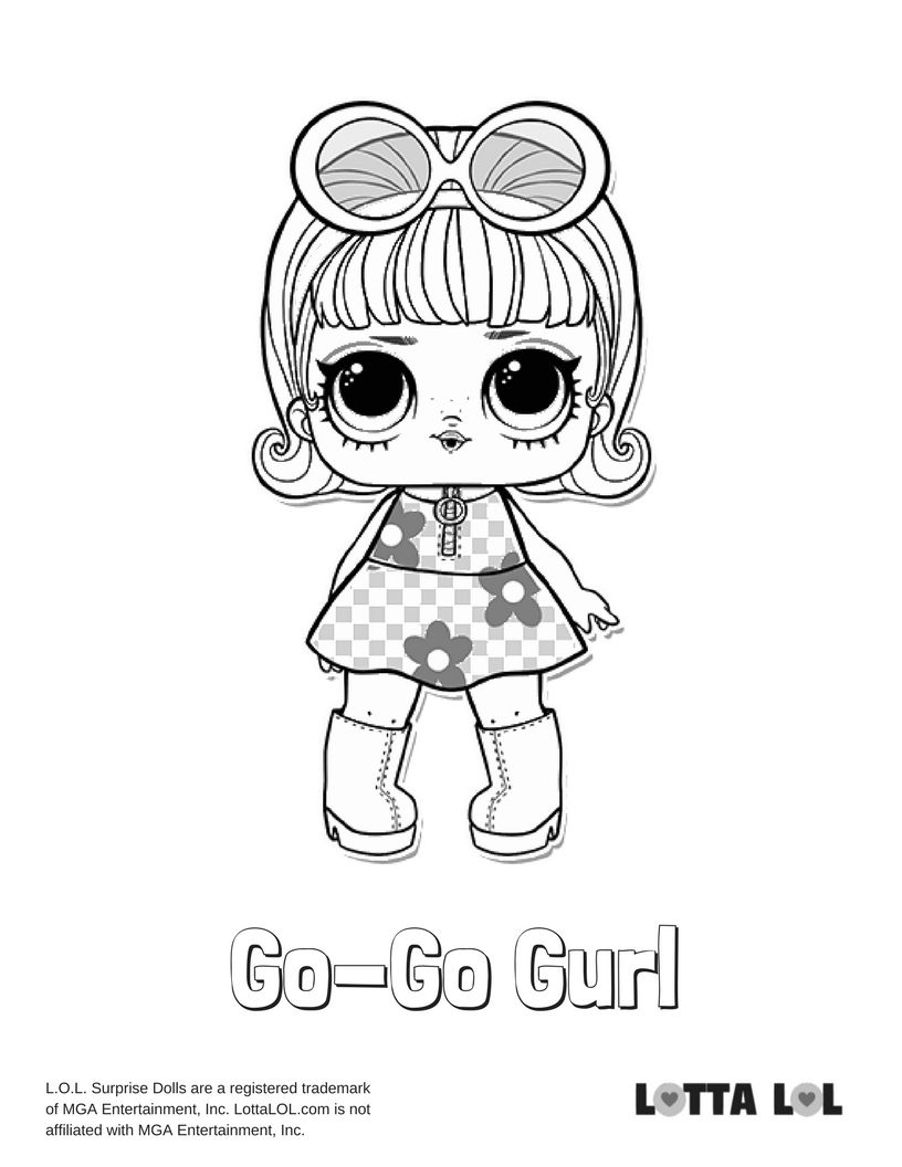 Go Go Gurl Coloring Page Lotta Lol Coloring Pages Lol Dolls