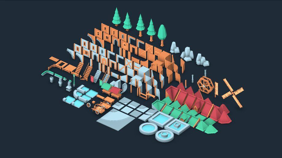 Fantasy Town Kit 150 Including 3d Models And 2d Isometric