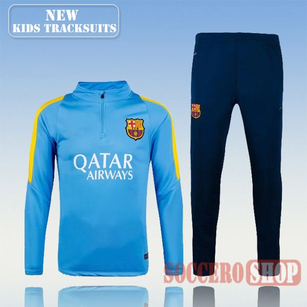 Top Quality:New Fashion Kids Barcelona FC 2016 2017 Blue Tracksuit  Personalised Customised