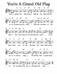 Free Sheet Music For You Re A Grand Old Flag Children S Song Enjoy Lead Sheet Free Sheet Music Sheet Music