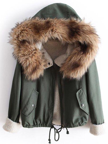 Mantel mit Pelz Kapuze und Kordelzug, grün German SheIn