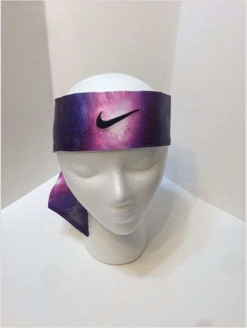 Items similar to Custom Pink Galaxy Nike Dri-Fit Head Tie Headband - Black,  White - Multi. Sport / Yoga purple grey on Etsy