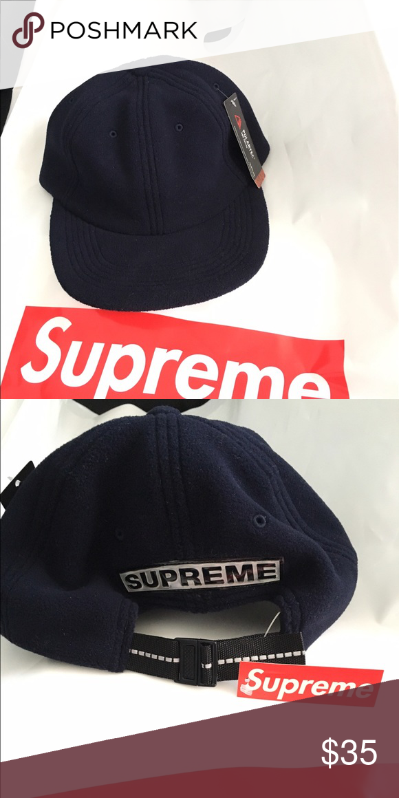 1b8346f89b4 Brand New Supreme Polartec Cap Polartec Fleece 6 Panel Navy Supreme  Accessories Hats