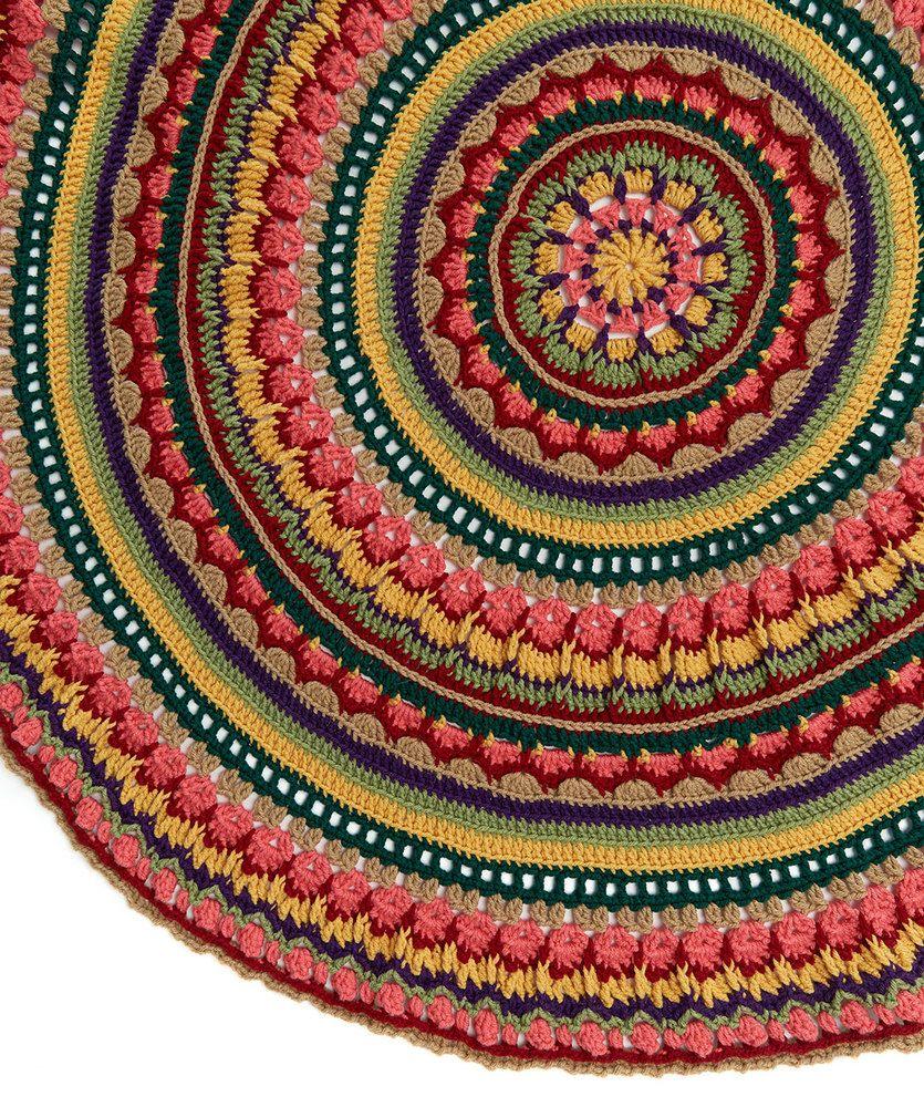 Circular Fall Mandala Throw | Red Heart | Crochet | Pinterest