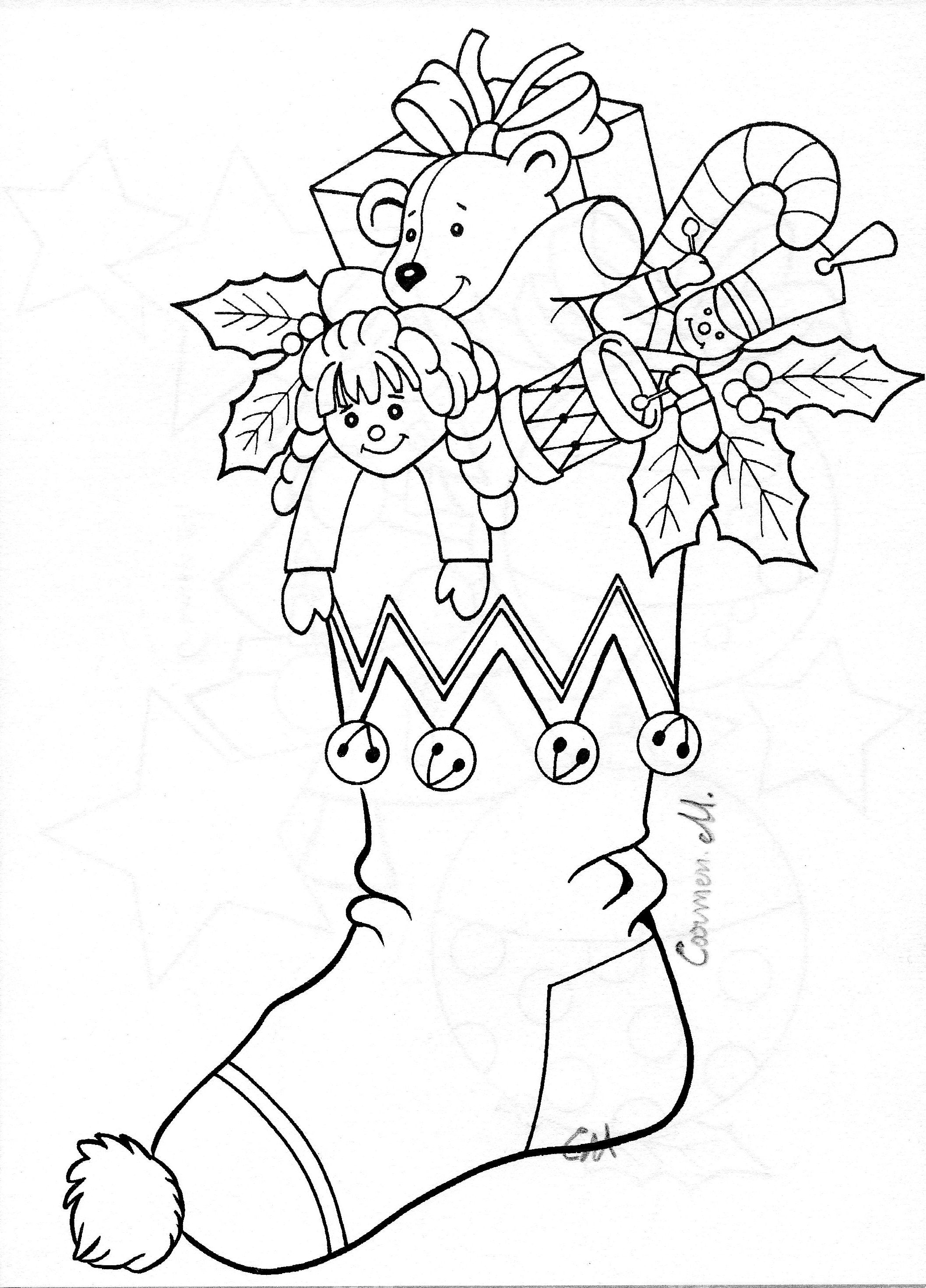 Christmas stocking colouring. | Christmas coloring pages ...