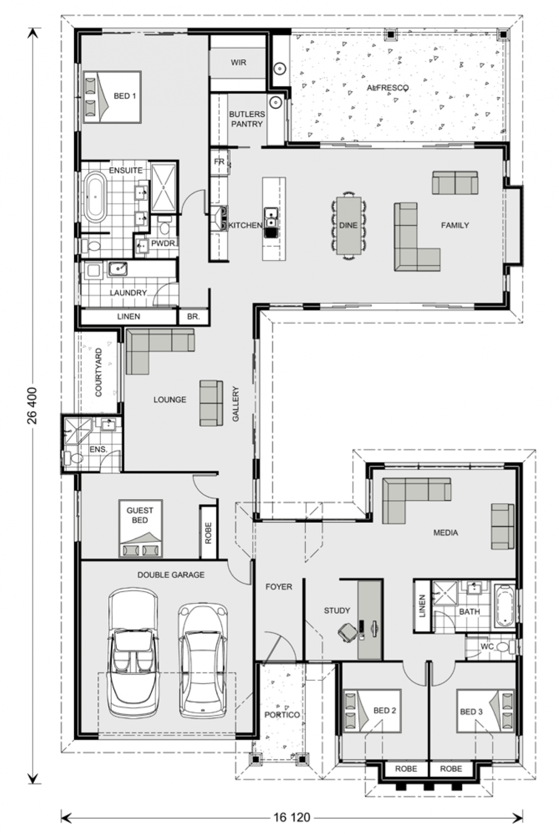 Floor Plan Friday: Separate Living Zones in 2020   Garage ...