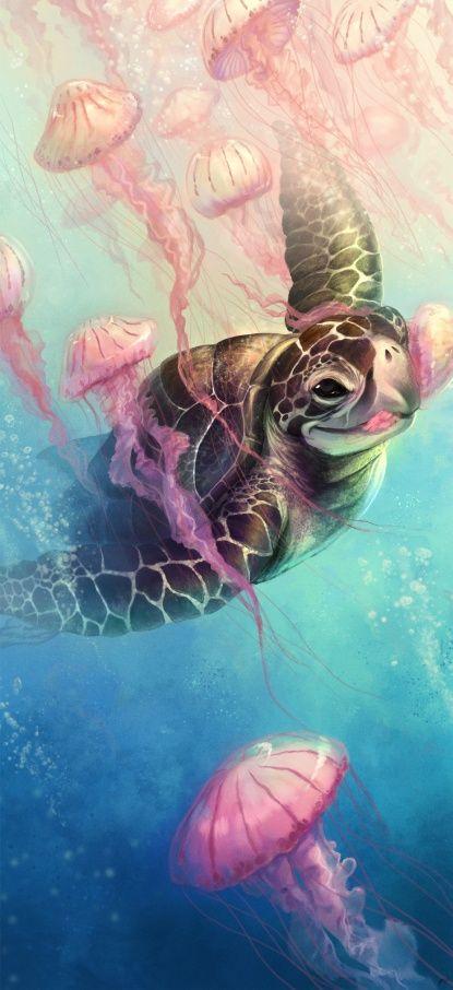 Sea Turtle And Jellyfish Canvas Print Turtle Painting Sea