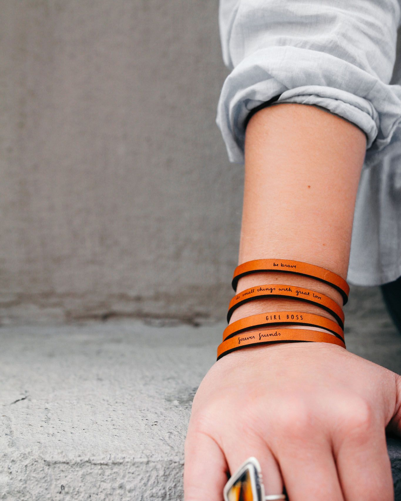 by Laurel Denise Girl Boss Brown Leather Quote Bracelet