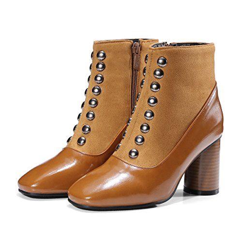 CXQ-Bottes QIN&X Women's Bout Rond Talon Haut Bloc Chaussures Bottillons Courts,Black,33