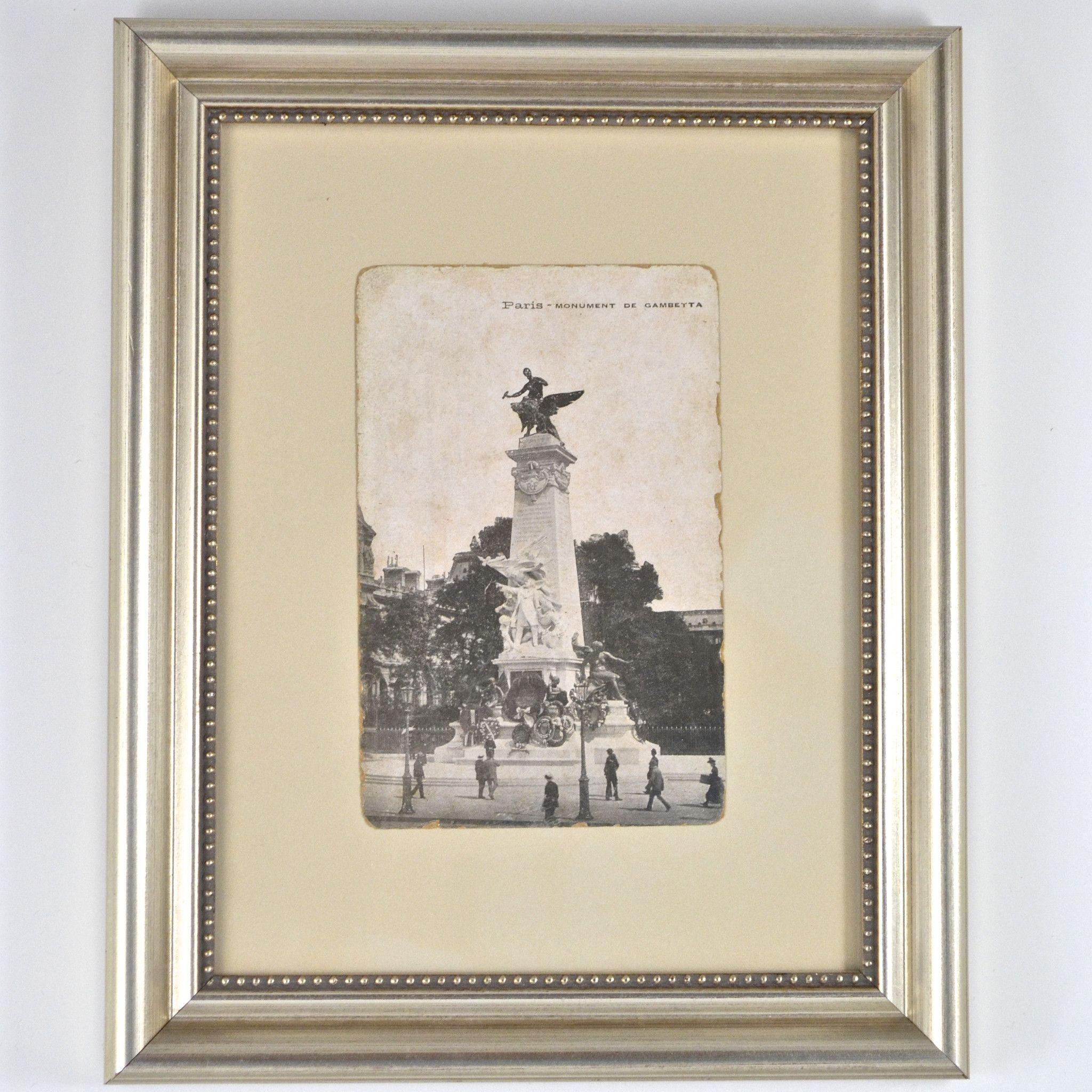 Custom Framed Vintage Postcard - Monument de Gambetta in Paris ...