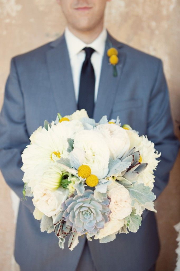 Gorgeous white bouquet with yellow & succulent accents by http://www.artwithnaturedesign.com/