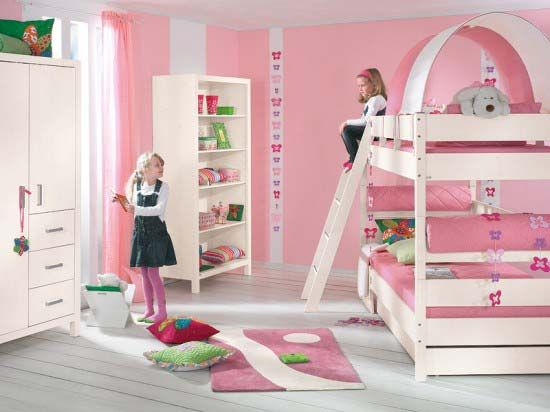Superior Girls Bedroom Decorating Ideas With 2 Beds | The Best Pink Bedroom  Decorating Ideas For Girls